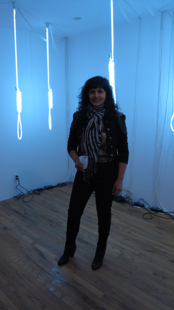 Cecilia Jurado at her opening for Y Gallery in LES