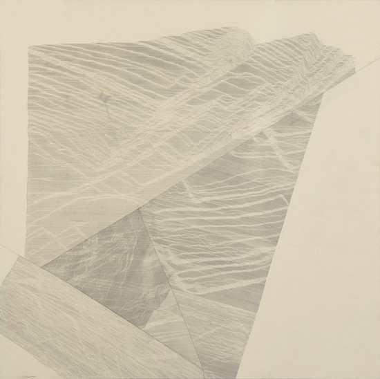 Myles Bennett, Lead Stacked (Stone), 2010, Graphite on Canvas, 51 x 51_inches