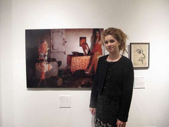 Jessica Speckhard with her work at the Open Mind of Lafcadio Hearn in New York Book and Art Exhibition