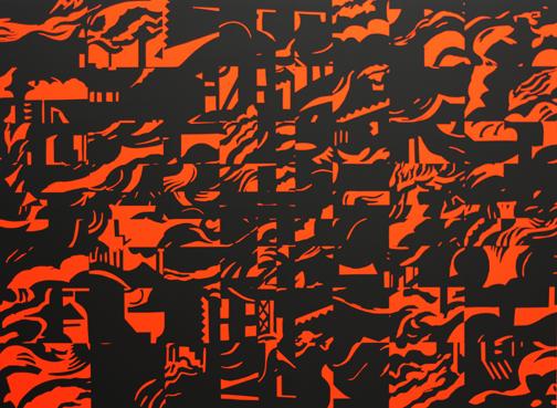 Blast for Races 1, 2011  53 x 72 in / 134.6 x 182.9 cm, acrylic on linen