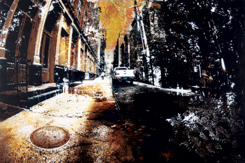 Concrete Jungle 5 (Copper), 2012; Copper leaf and spray paint stencil on wood 28 x 42 inches; 71.2 x 106.7 cm
