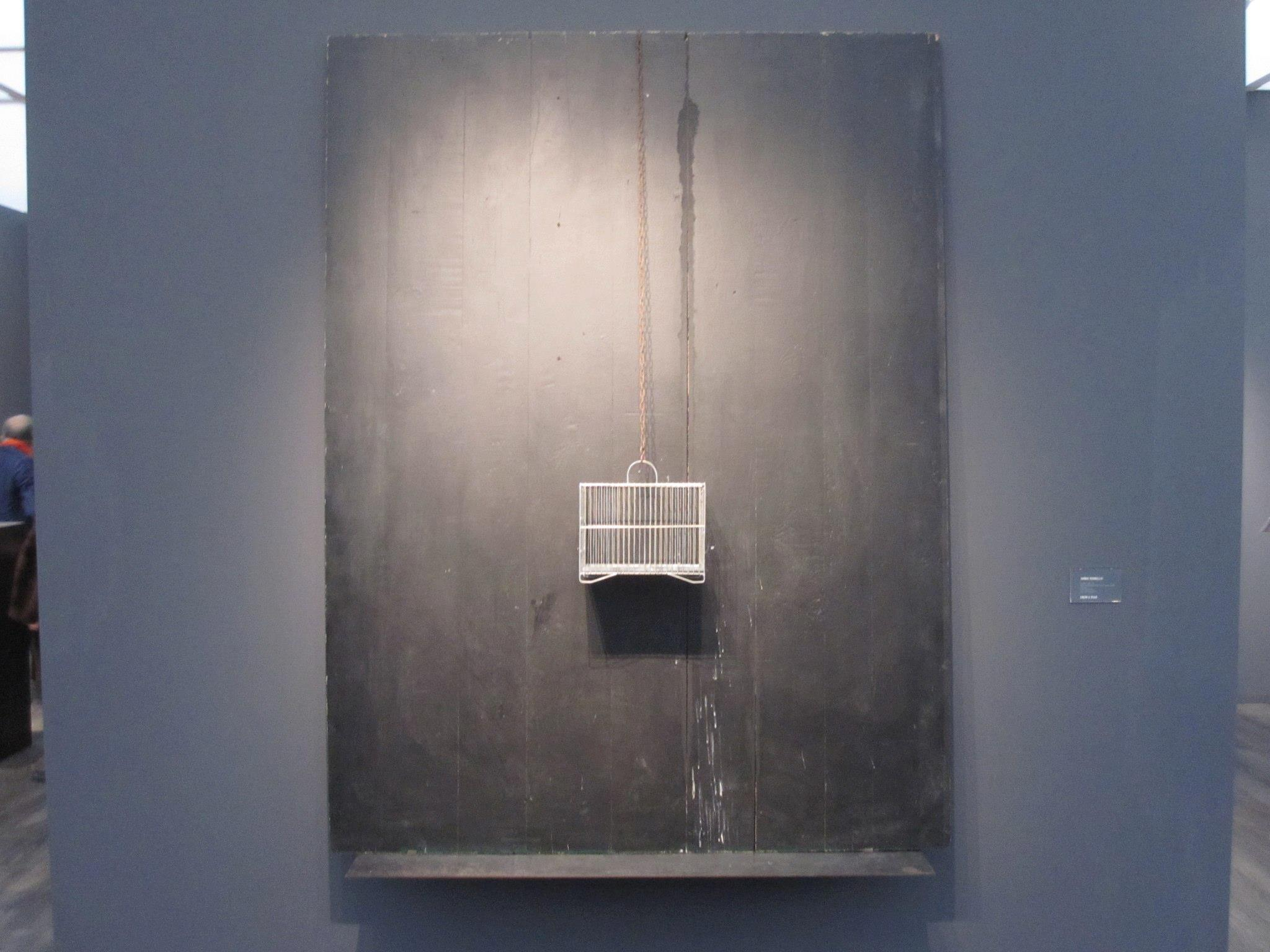 """Jannis KOUNELLIS """"Untitled"""" 1966 wood panel, paint, and metal birdcage 79 x 63 inches  €1,200,000 at Cheim & Read"""