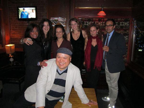 (L-R, back row) Artists Nena Tahil, Andrea McKenna, Andrea Kroenig, Colleen Blackard, Nikki Helvey & Luis Alves. (front) Curator Oscar A. Laluyan