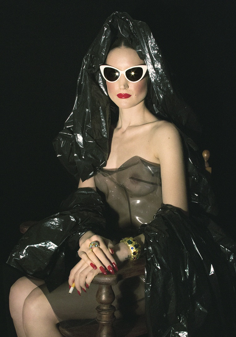 Andrea Mary Marshall Self Portrait as Gia Condo Trash Bag Mona Lisa (2012) Self Portrait Photograph