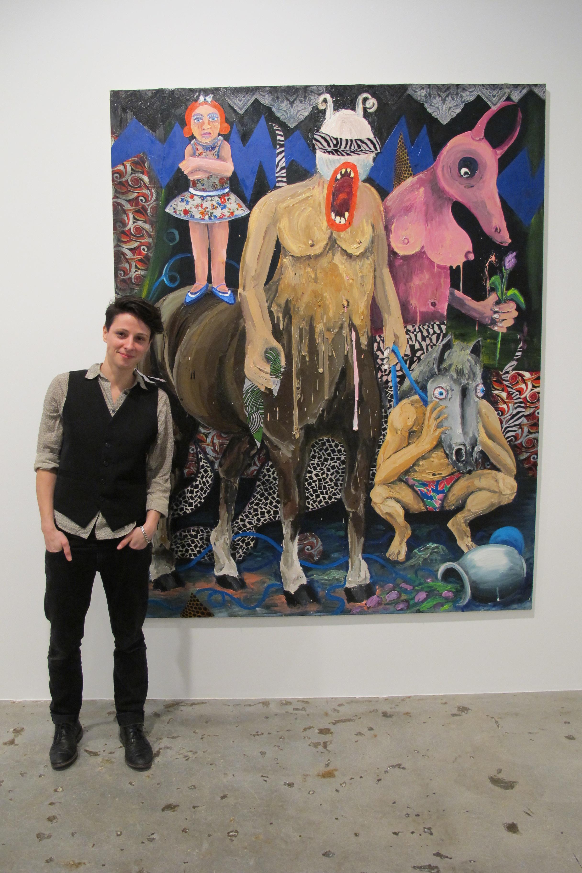 Artist Stefanie Gutheil at her opening