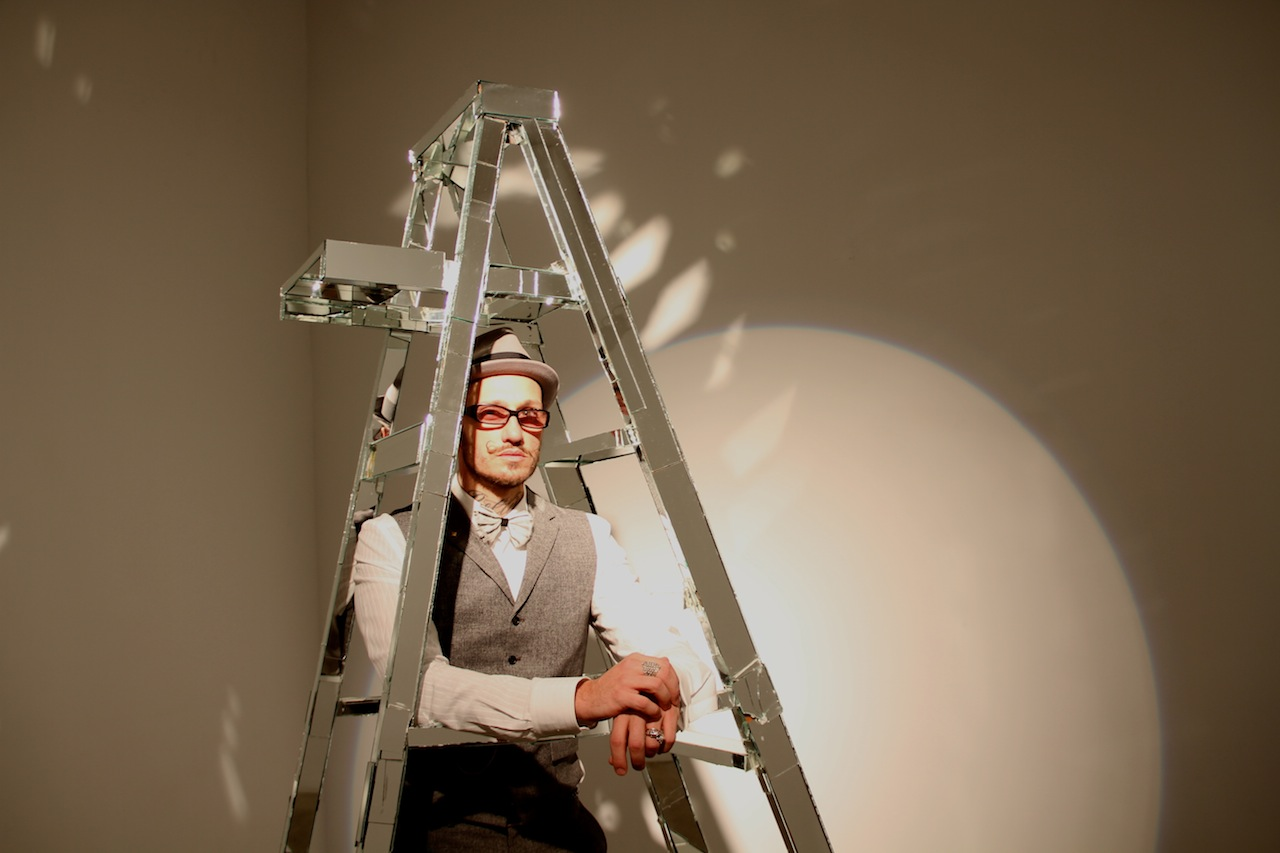 Mattia Biagi (artist) with his Ladder sculpture photo by Deukyun Hwang