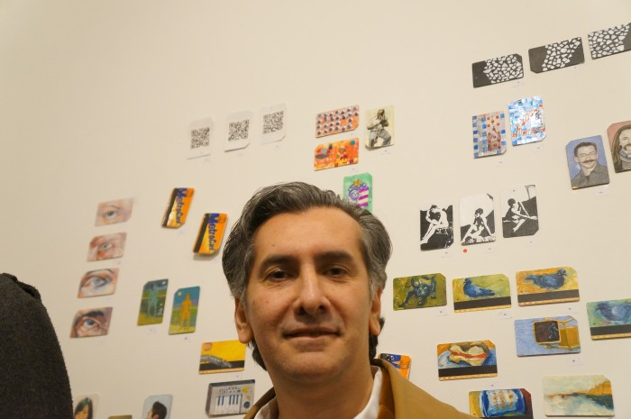 Artist Vincent Zambrano at the opening