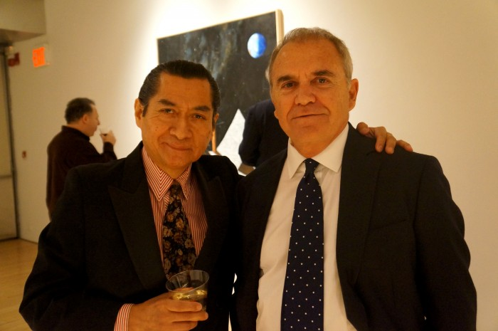 Humberto Aquino (artist) left Julio Larraz (artist) right