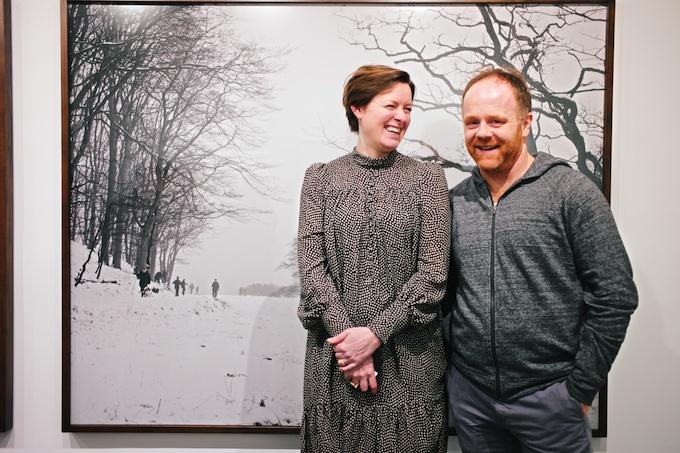 The jubilant artists (L-R) Trine Søndergaard and Nicolai Howalt