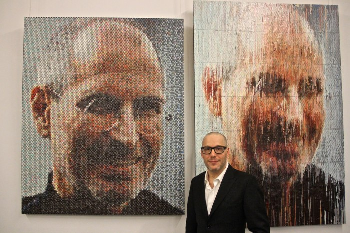Artist Bradley Hart with his Injected & Impression Image of Steve Jobs