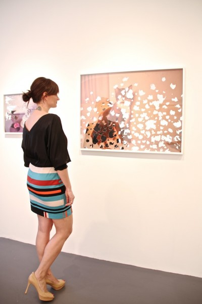 Angela Kosniewski of Charles Bank - a real gallery girl viewing great art by Garrett Pruter