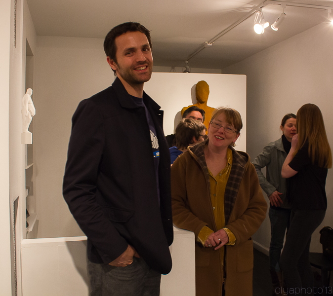 Emil Alzamora (artist) at his opening in Krause Gallery