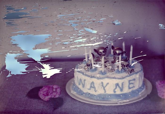 Garrett Pruter 1987 - Wayne, 2013 collage with Mylar 18 x 24 inches