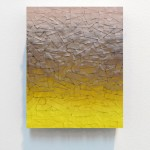 "Julian Lorber | Coverup_Bronzer_Yellow | 2012 | acrylic paint, soot, archival tape on wood panel | 10"" x 8"""