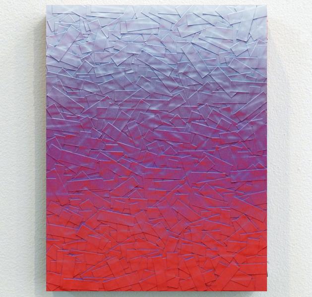 "Julian Lorber | LSD_Lavander_Raspberry | 2012 | acrylic paint, soot, archival tape on wood panel | 12"" x 9"""