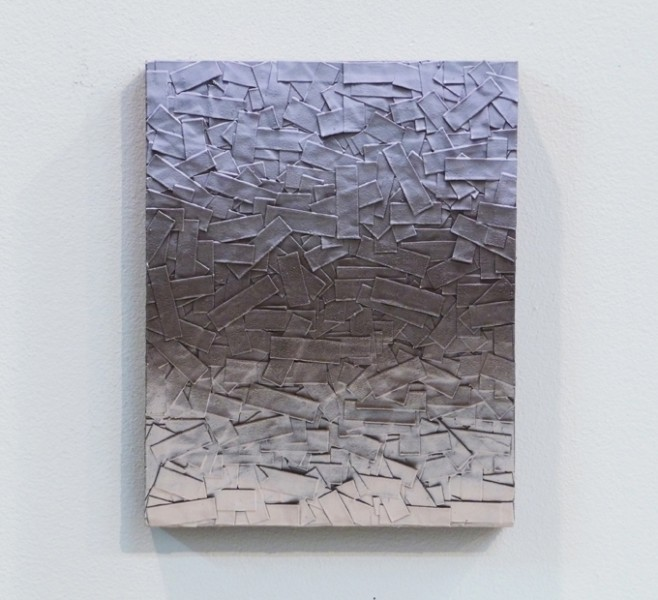 "Julian Lorber | Untitled | 2012 | acrylic paint, soot, archival tape on wood panel | 10"" x 8"""
