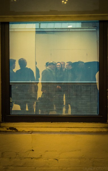 Reflection in the window at Tanya Bonakdar Gallery (photo by Olya Turcihin)