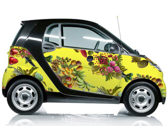 smart car covered in fallen fruit wall paper Honolulu