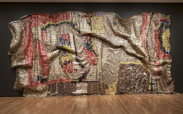 El Anatsui (Ghanaian, born 1944). Earth's Skin, 2007. Aluminum and copper wire, 177 x 394 in. (449.6 x 1000.8 cm). Courtesy of the artist and Jack Shainman Gallery, New York. Photograph by Joe Levack, courtesy of the Akron Art Museum