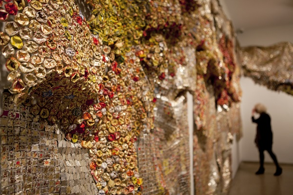 Gravity and Grace: Monumental Works by El Anatsui. Installation view.  Brooklyn Museum photograph by JongHeon Martin Kim