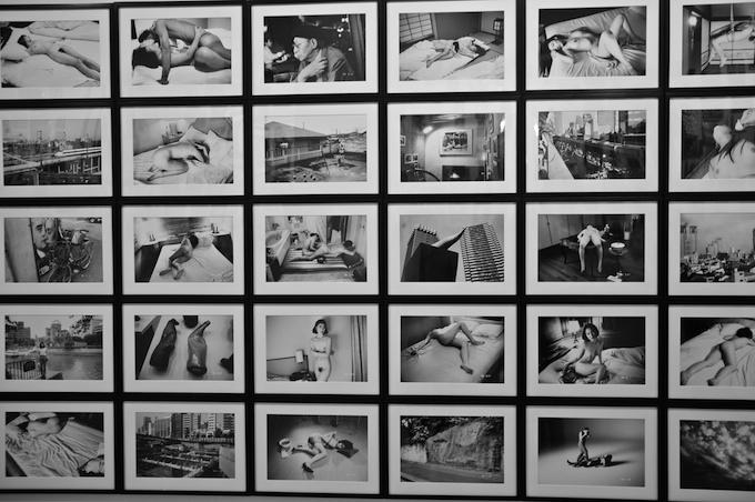 A wall of Nobuyoshi Araki shots at Mana Contemporary
