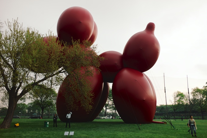 The 81 Foot Balloon Dog by Paul McCarthy greets all at Frieze Art Fair NY 2013