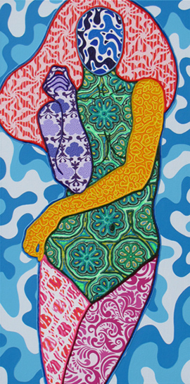 Sabina Forbes II; Woman, Waves, 2013;  Mixed media on canvas; 36 x 18 inches; 91.4 x 45.7 cm ©