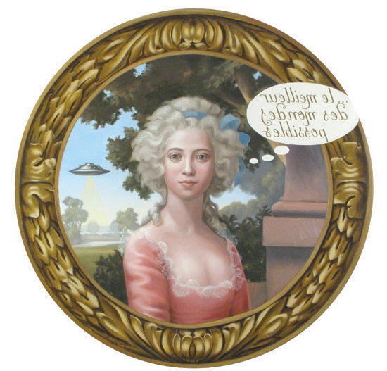 Cristina Vergano; The Best of All Possible Worlds, 2009 Oil on wood tondo, Trompe l'oeil frame; 42 inch; 106.7 cm/diameterEdition 1/5