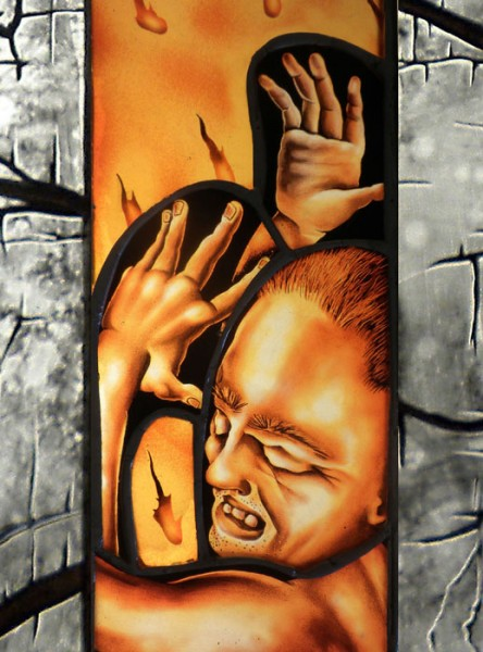 Prometheus (Detail) Stained Glass Lightbox 57 x 15 inches | 144.8 x 38.1 cm.