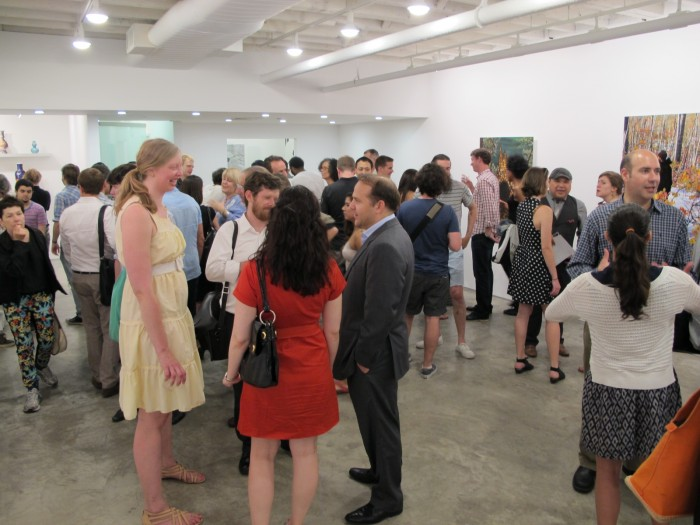 A fully packed house at Ryan Lee Gallery for the opening of Bradley Castellanos