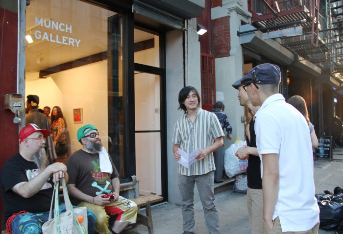 Art Lovers hang out at Munch Gallery on Broome Street