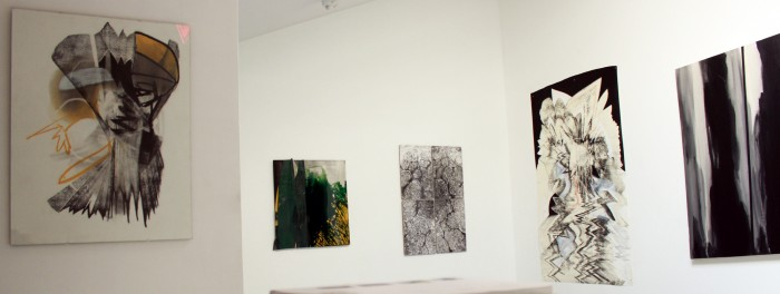 Installation view from left to right, work by: Joseph Karwacki, Rhia Hurt, Serkan Altinoz, Joseph Karwacki, Olivié Ponce