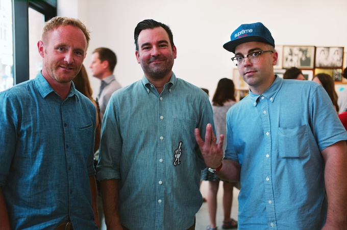 Men in Chambray (L-R) Curator & Artist Evan Hecox, Sculptor Cody Hudson and guest