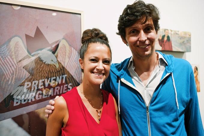 Curator Kristin Sancken (L) with friend at ROX Gallery