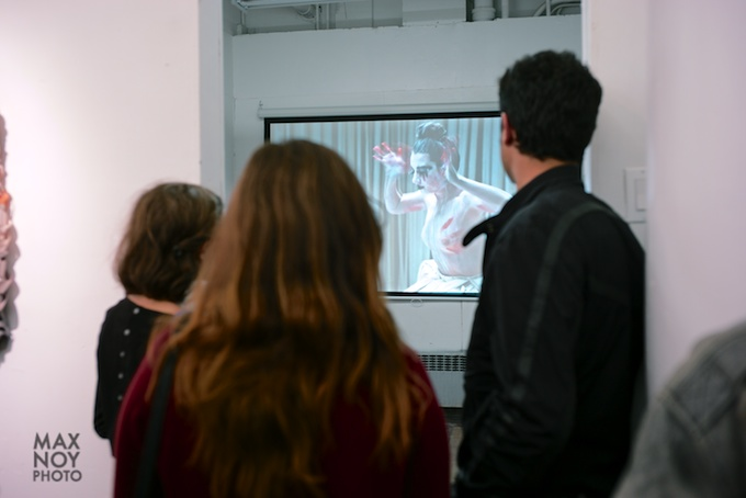 A video installation at Vadis Turner opening reception