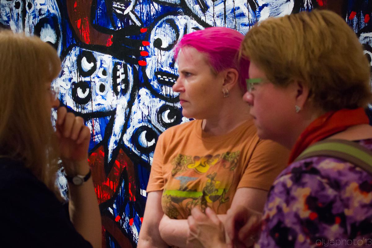 Colorful Attendees at Van Der Plas Gallery