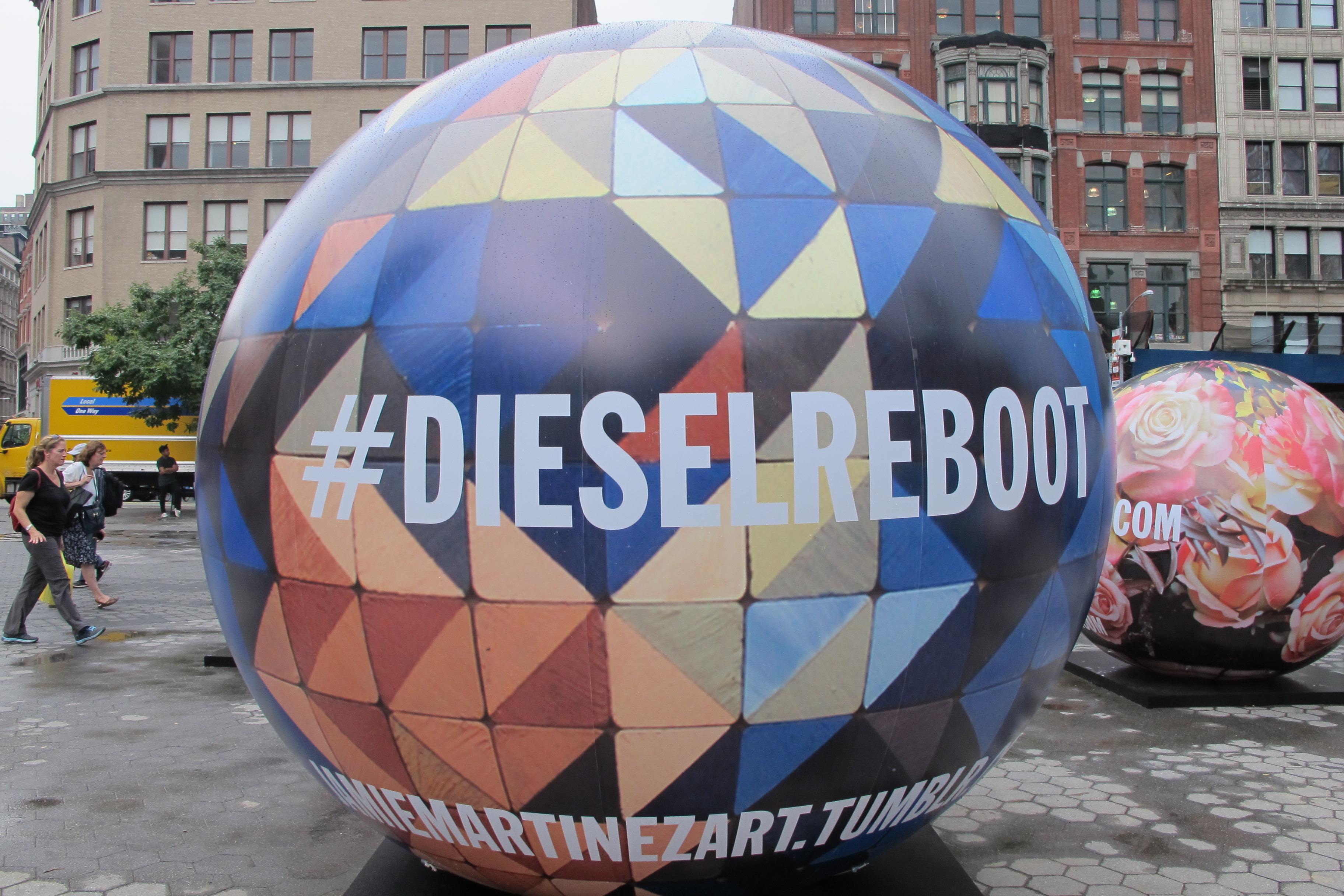 Diesel installation in Union Square, Triangulism art by Jamie Martinez