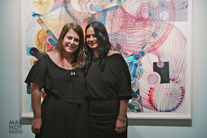 (L-R) Amy Sande-Friedman of Von Lintel Gallery with artist Rosemarie Fiore