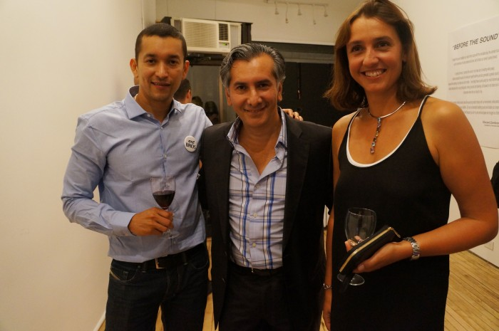 (L-R) John J. Reverol (Gallery Owner) Vincent Zambrano (Artist) Sylvie Roisin (Gallery Director)