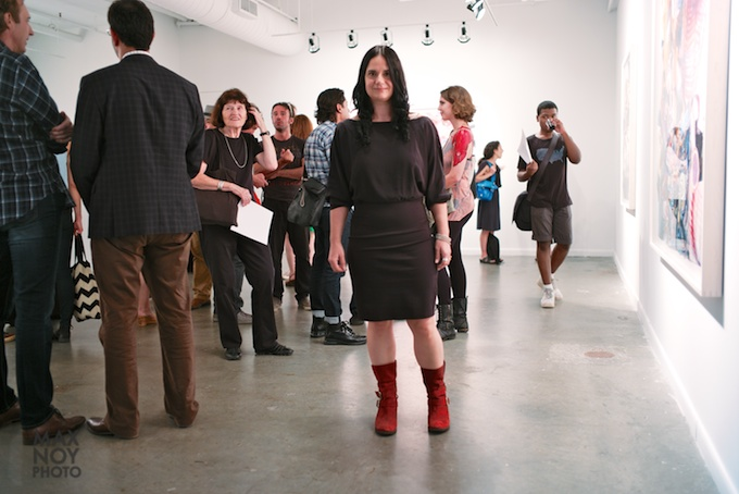 These red boots are made for walking - Rosemarie Fiore at her opening reception at Von Lintel Gallery
