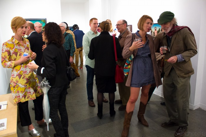 (Far Left) Eva Frosch and the LES art denizens for the opening of Seth Michael Forman