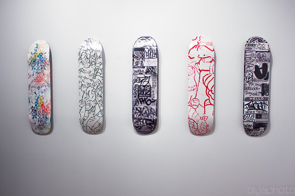 hand-made one of a kind skateboards by Francesca DiMattio. Orly Genger and Michael Anderson