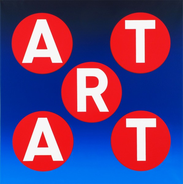 ART (Dk Blue Blend/Red Circles/White Letters), 2013 Unique silkscreen in colors on triple primed archival canvas  24 x 24 x 2 inches; 61 x 61 x 5 cm Signed verso with Artist's emblem
