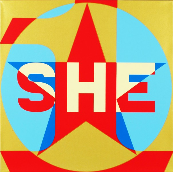 SHE Pale Yel./Gold/Red/Blue/Lt. Blue, 2013  Unique silkscreen in colors on triple primed archival canvas 23.6 x 23.6 x 1.5 inches; 60 x 60 x 3.8 cm Signed verso with Artist's emblem
