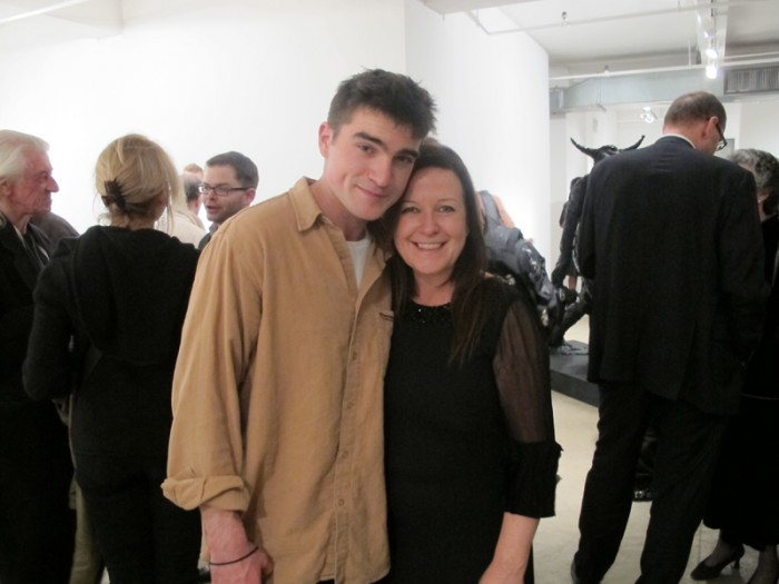 And now a family moment with artist Nicola Hicks and her son
