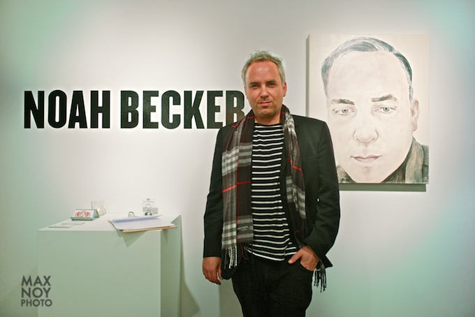 Artist Noah Becker at his opening in The Lodge Gallery