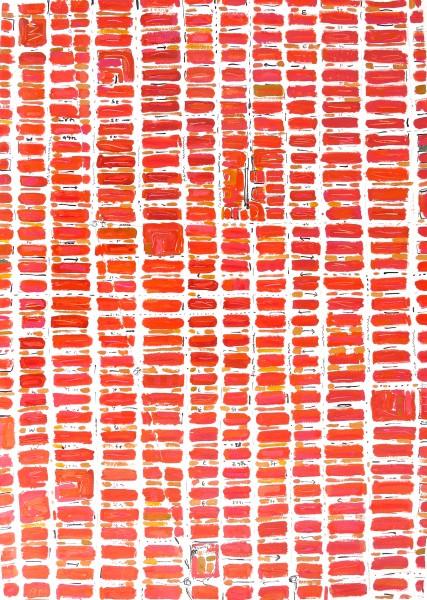 Barbara Macfarlane, Midtown Red, 2013, Oil and Ink on Handmade Paper