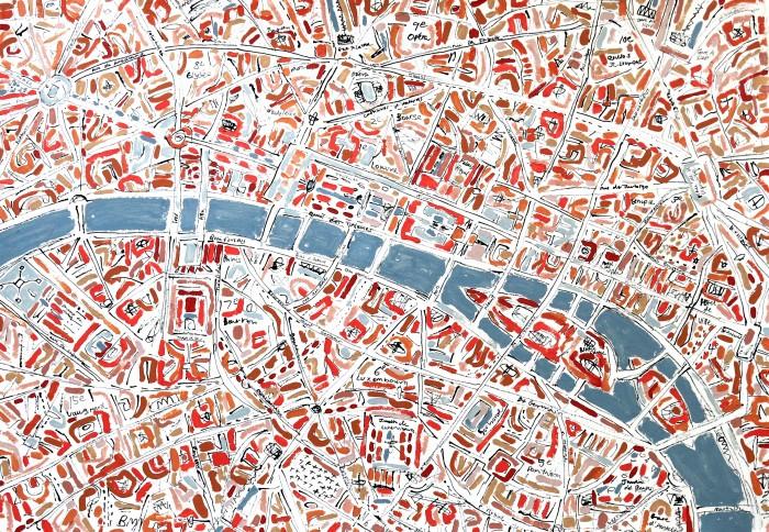 Barbara Macfarlane, Pink Paris, 2013, Oil and Ink on Handmade Paper