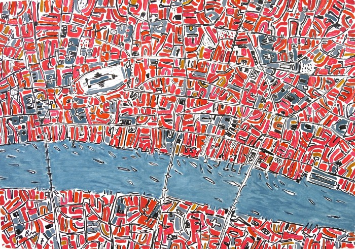 Barbara Macfarlane, Red and Pink London, 2013, Oil and Ink on Handmade Paper