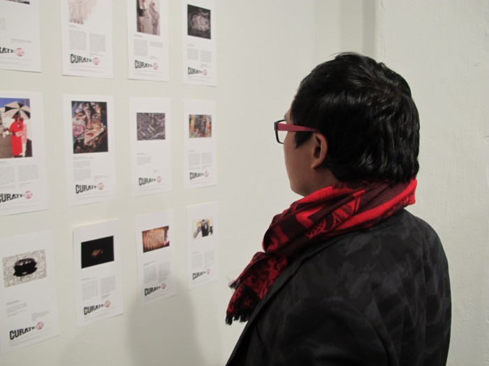 A guest checking out the artwork